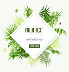Realistic 3d detailed green palm leaf frame flyer vector