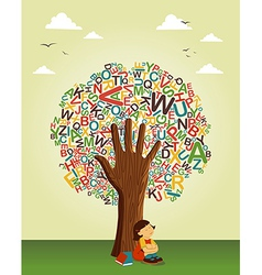 School education tree hand vector