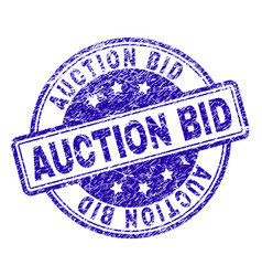 scratched textured auction bid stamp seal vector image