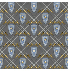 seamless pattern with medieval shield and swords vector image