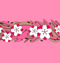seamless pattern with sakura or cherry blossom vector image