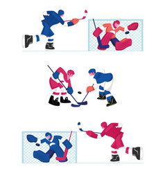 Set hockey players isolated on white background vector