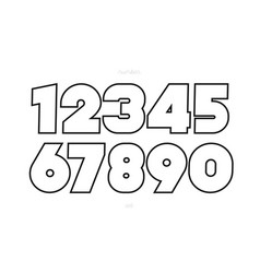 set numbers bold line style trendy typography vector image
