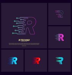 set of letter r digital logo design concept vector image