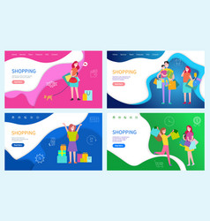 shopping family using discounts buying presents vector image