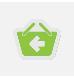 simple green icon - shopping basket back vector image