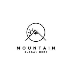 Simple monoline mountain logo design template vector