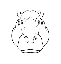 sketch of hippopotamus head portrait of forest vector image