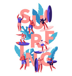 surfing water activity for young people woman vector image