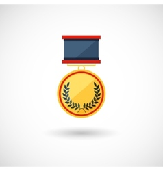Symbol of the winner badge with tapes vector
