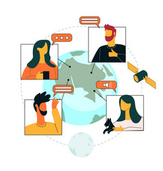 Talking to people from different places world vector