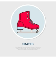 Thin line icon of skates Winter recreation vector