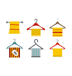 towel icon set flat style vector image