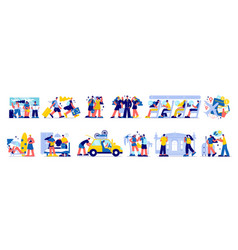 travel vacation icon set vector image