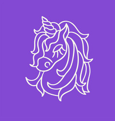 Unicorn head white outline sketch icon on the vector