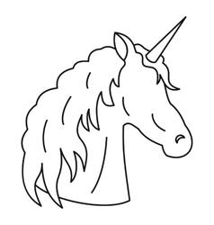 Unicorn icon outline style vector image