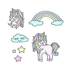 unicorns rainbow clouds stars magic set vector image