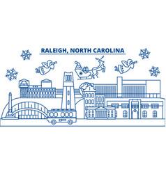 Usa north carolina raleigh winter city skyline vector