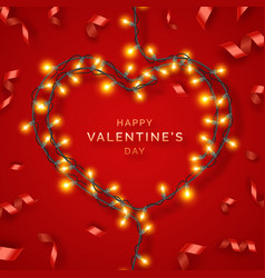 valentines day background with red ribbons lights vector image