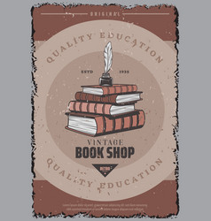 Vintage colored book store poster vector