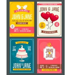 Vintage wedding invitation cards set with doves vector image