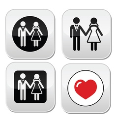 Wedding married couple white icon set on black vector