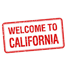 Welcome to california red grunge square stamp vector