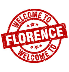 Welcome to florence red stamp vector