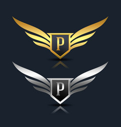 Wings shield letter p logo template vector