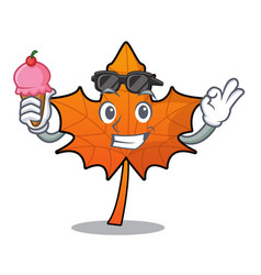 with ice cream red maple leaf character cartoon vector image