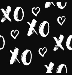 xoxo brush lettering signs seamless pattern vector image