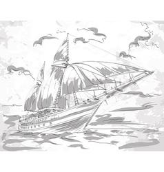 Yacht in the sea vector