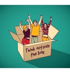 Young creative people group team in box color vector image