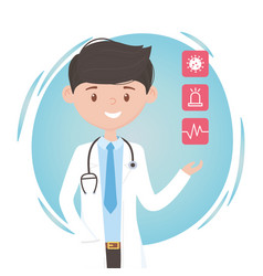Young male physician assistance medical staff vector