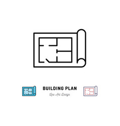 building plan icon outline symbol of construction vector image vector image
