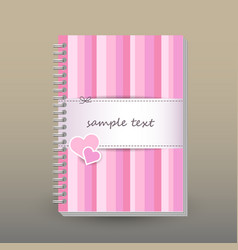 Cover of diary pink striped with couple of hearts vector