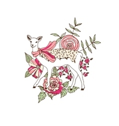 Deer in scarf on flower background vector image