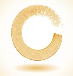 Gold paintbrush circle frame vector image