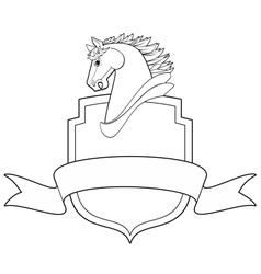 horse shield vector image vector image