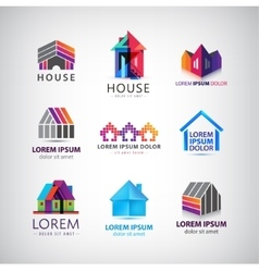 set of colorful house village property vector image vector image
