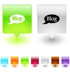 Blog square button vector image