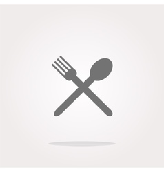 Food button spoon and fork on web icon vector image vector image