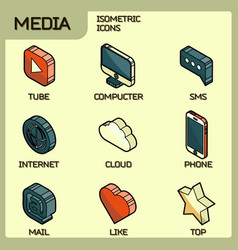 media color outline isometric icons set vector image