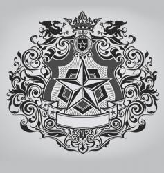 ornate shield design vector image