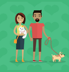 walking with pets concept in flat design vector image vector image