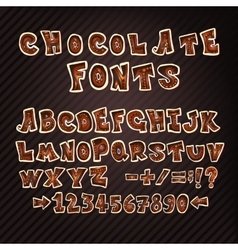 Colorful chocolate doodle ABC letters vector image