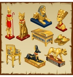 Egyptian set statues made of gold eight items vector image vector image
