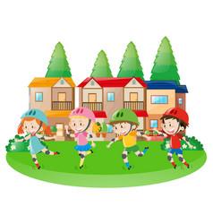 Four children rollerskating in neighborhood vector