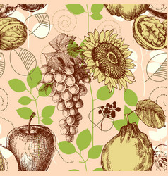 fruits seamless pattern retro style vector image vector image
