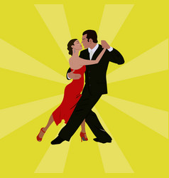 tango dancing couple man and woman vector image vector image